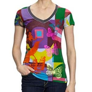 Desigual Graphic Floral Butterfly Print T-shirt